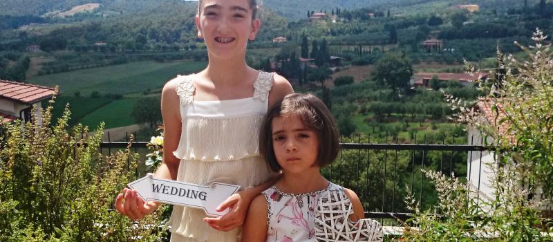 flower girls Tuscan Luxury wedding